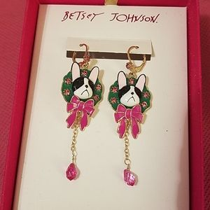 Betsey Johnson dog earrings NWT IN BOX
